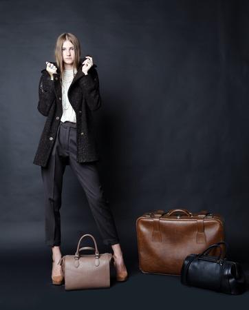 Beautiful female model posing at studio. photo
