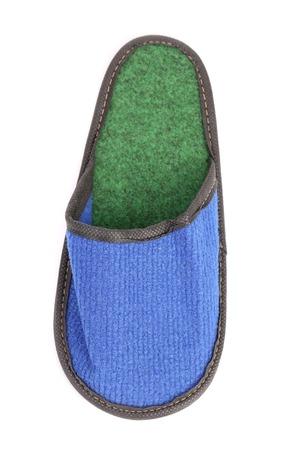 houseshoe: Blue slipper on a white background. Isolated on a white background. Stock Photo