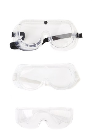 protecting spectacles: Safety glasses. Isolated on a white background. Stock Photo