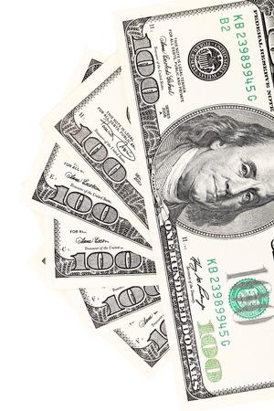greenbacks: One hundred dollar greenbacks. Isolated on a white background. Stock Photo