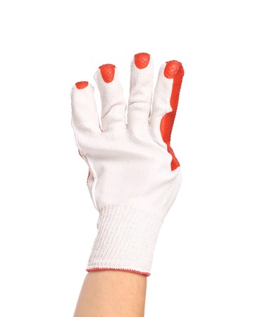 enumeration: Hand in gloves shows four. Isolated on a white background.