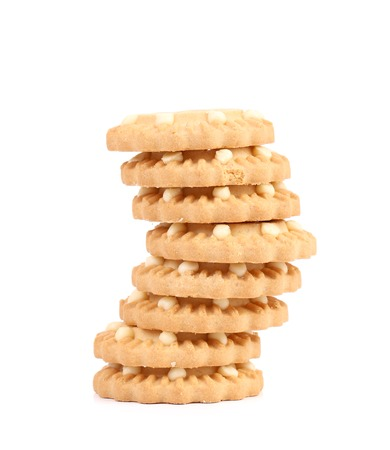 Cookies with white glaze. Isolated on a white background. photo