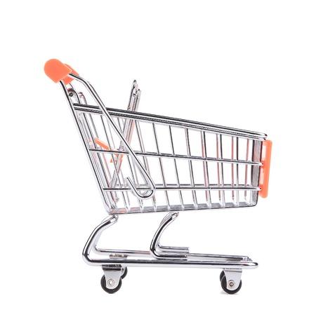 pushcart: Orange pushcart. Isolated on a white background. Stock Photo