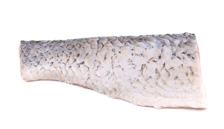 mirror carp: Fresh half mirror carp fillet. Isolated on a white background. Stock Photo