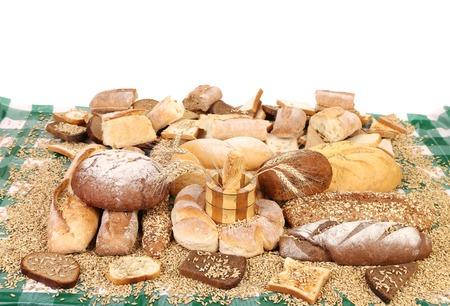 Different types of bread. Isolated on a white background. photo