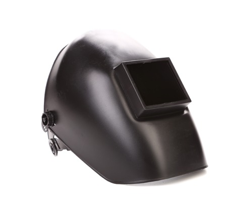 blacked: Black welding mask. Isolated on a white background.