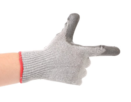 Hand in gloves shows one. Isolated on a white background. Stock Photo