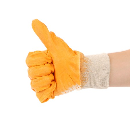 Worker glove thumbs up. Isolated on a white background. photo