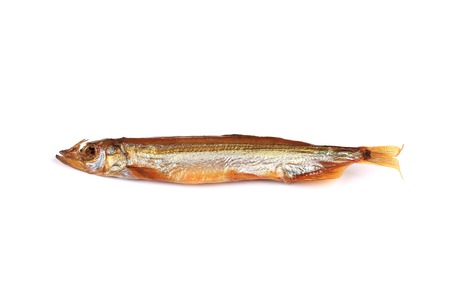 Smoked fish. Isolated on a white background. photo