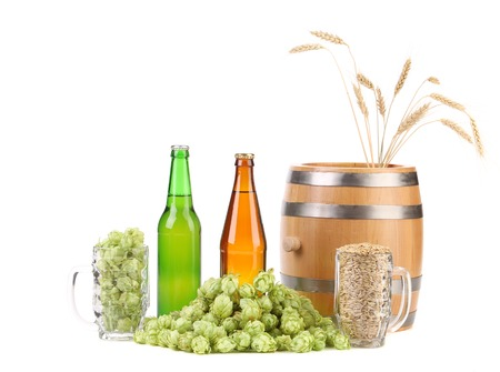 humulus: Barrel and bottles of beer with hop. Isolated on a white background.