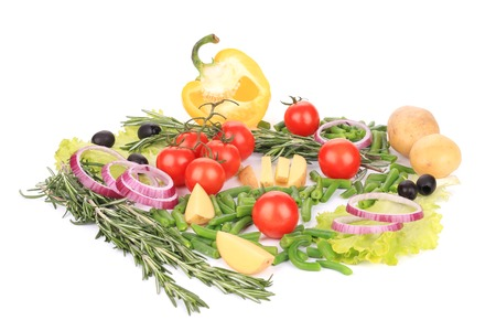 Various fresh vegetables. Isolated on a white background. photo