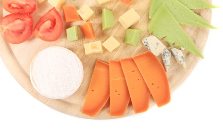 cheeseboard: Cheeseboard. Isolated on a white background. Stock Photo