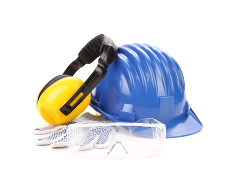 cautious: Blue safety helmet with earphones and goggles. Isolated on a white background. Stock Photo
