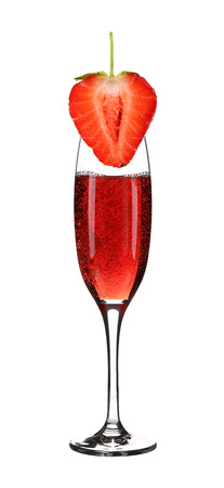 aperitive: Glass of champagne and strawberry. Isolated on a white background. Stock Photo
