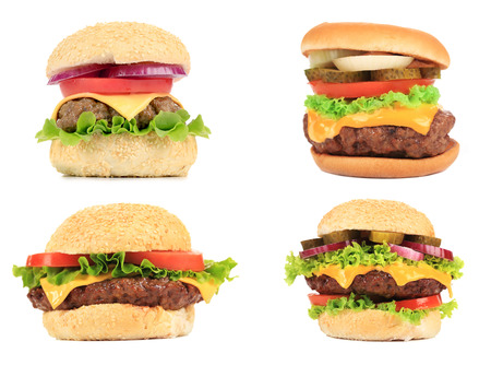 Set of various hamburgers. Isolated on a white background. photo
