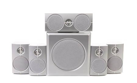 Audio surround system. Isolated on a white . photo