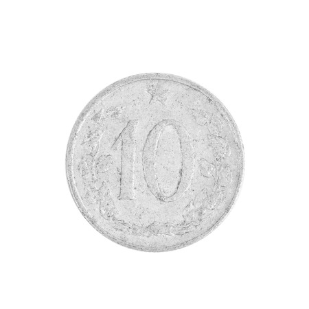 czech republic coin: Ten czech crown coin. Isolated on a white background. Stock Photo