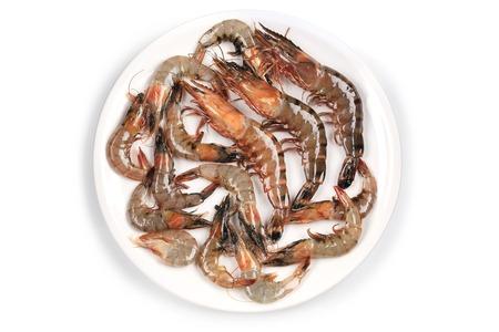 Raw shrimp on a white table. Isolated on white background. photo