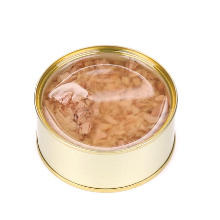 selenium: Canned tuna in a tin. Isolated on a white background.
