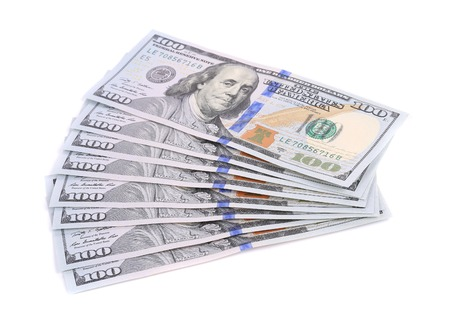 Hundred dollar bills. Isolated on a white background.