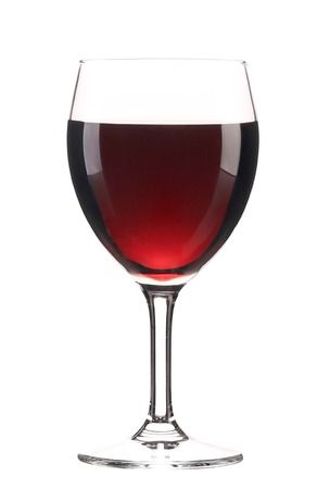 Glass of red wine. Isolated on a white background. photo