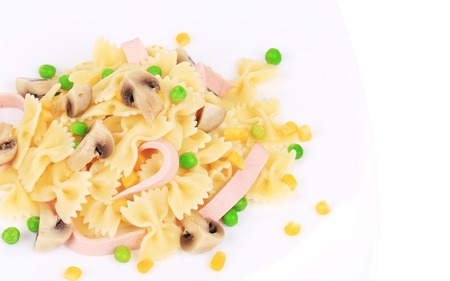 Pasta with ham and mushrooms. Whole background. photo