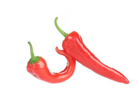 Two raw chili peppers. Isolated on a white background. photo