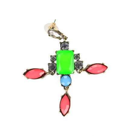 Brooch with different gems. Isolated on a white background. photo