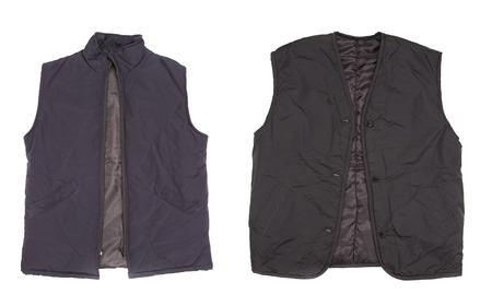 Two winter vests. Isolated on a white background. photo