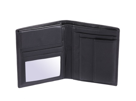Black leather wallet. Isolated on a white background. photo