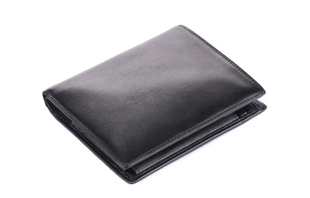 Leather wallet. Isolated on a white background. photo