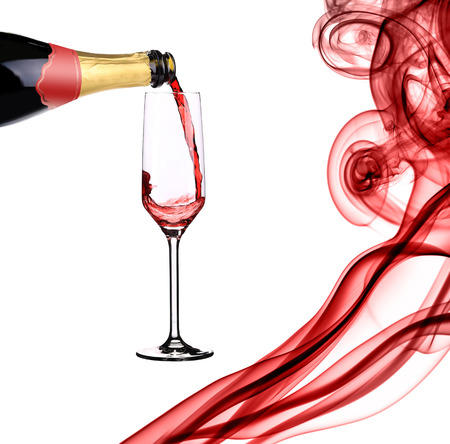 Red champagne and abstract smoke. White background. photo