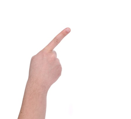 Showing mans finger. Isolated on a white background. photo