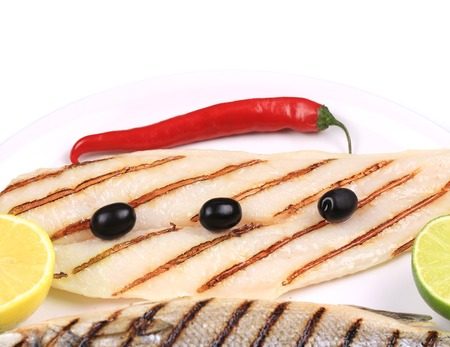 pangasius: Grilled seabass with pangasius fillet. Whole background.