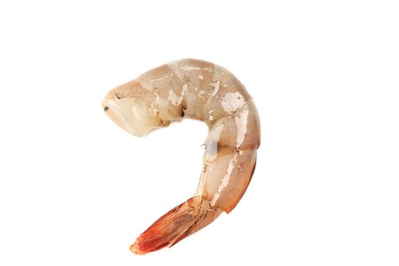 One raw shrimp. Isolated on white background. photo