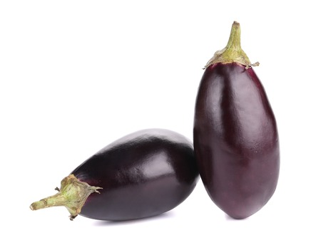 Two black eggplants. Isolated on a white background. photo