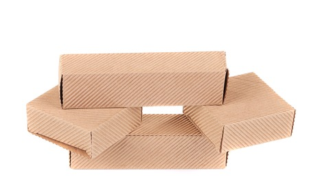 Cardboard boxes. Isolated on a white background. photo