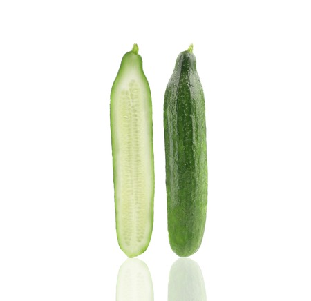 Two slices of cucumber. Isolated on a white background. photo