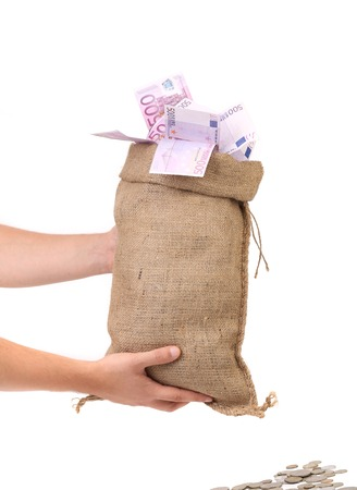 Sack with money. Isolated on a white background. photo