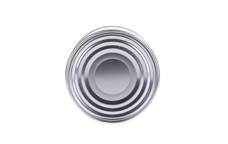 Top view of closed tin can. Isolated on a white background. photo