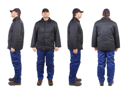 Worker in winter workwear. Isolated on a white background. photo