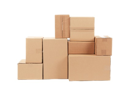 boxes stack: Stacks of cardboard boxes. Isolated on a white background.