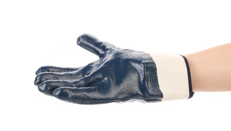Rubber protective blue glove. Isolated on a white background. Фото со стока