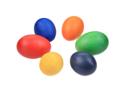 Six colorful easter eggs. Isolated on a white background. photo