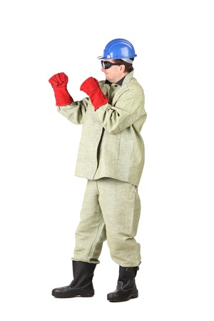 Boxing welder. Isolated on a white background. photo