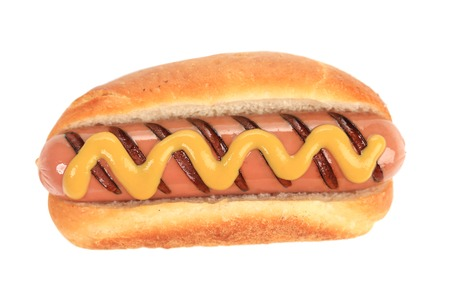 Tasty grilled hotdog with mustard. Isolated on a white background. photo