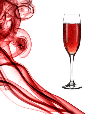 Red smoke and champagne  Isolated on a white background  photo