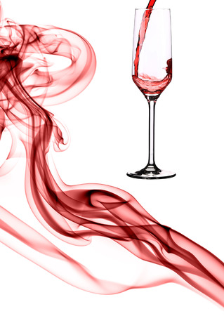 Composition of red smoke and champagne  Isolated on a white background  photo