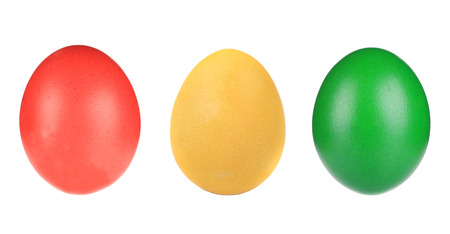 Colorful Easter eggs close up  Isolated on a white background  photo