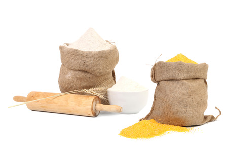 yellow flour: Collage of two bags with flour  Stock Photo